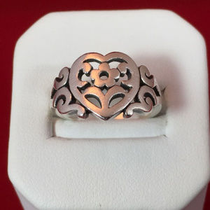 James Avery Sterling Scrolled Heart Flower Ring